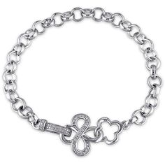 Miadora Sterling Silver 1/10ct TDW Cloverleaf Infinity Diamond... ($108) ❤ liked on Polyvore featuring jewelry, bracelets, white, sterling silver diamond jewelry, sterling silver jewelry, pave diamond jewelry, white diamond jewelry and pave jewelry