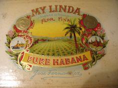 "Vintage Cigar Box, ""MY LINDA"", Jose Fernandes, Pure Habana. $12.99, via Etsy."