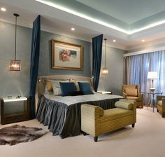 Good Master Bedroom, Panels Hung From Ceiling, Pendant Lighting, Wall Paper,  Painted Ceiling