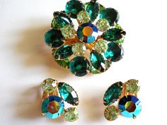 Beau Jewels Brooch and Earring Set Green and AB Rhinestone Vintage by JanesVintageJewels on Etsy https://www.etsy.com/listing/192593610/beau-jewels-brooch-and-earring-set-green