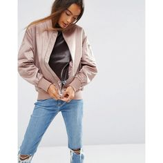 ASOS Ultimate Bomber Jacket ($55) ❤ liked on Polyvore featuring outerwear, jackets, pink, asos, pink jacket, fleece-lined jackets, zipper jacket and asos jackets
