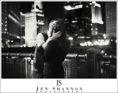 Engagement Photos - Chicago at Night - Wedding Photography - Jen Shannon Photography