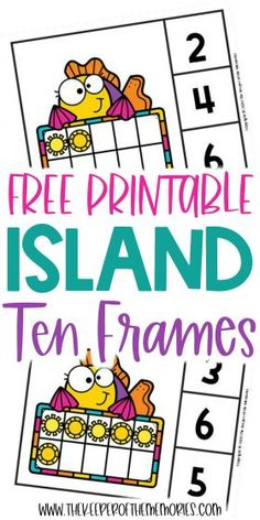 Teach little kids counting, number sense and subitizing with these adorable Free Printable Island Ten Frame Clip Cards. Download yours today! #preschool #math #island #palmtrees #centers #counting #numbers Sensory Activities Toddlers, Kids Learning Activities, Preschool Themes, Preschool Printables, Preschool Activities, Free Printable Worksheets, Free Printables, Diy Crafts For Kids Easy, Subitizing