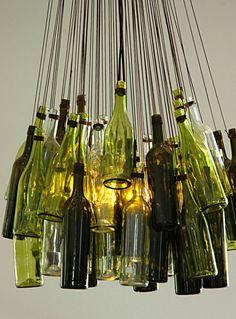Bottle chandelier - so unusual! (The Kitchen at Maison Wine Estate in Franschhoek)