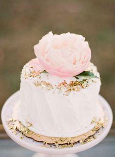 REVEL: Blush + Gold Wedding Cake…simple elegant cake topper and gold edible glitter.