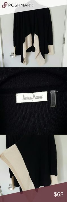 Neiman Marcus 100% Cashmere Cardigan Neiman Marcus 100% Cashmere Cardigan with a black and cream colorblock print. EUC perfect for getting cozy during fall and winter! Neiman Marcus Sweaters Cardigans