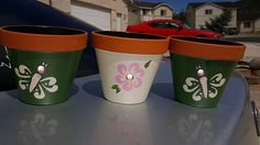 Hand Painted 5 Flower Pots set of 3