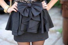 Black bowed peplum skirt
