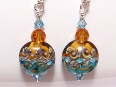Lampwork Glass Earrings Ocean Sunset Aqua by martywhitedesigns, $38.00