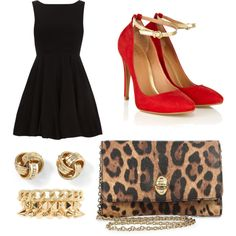 Little black dress with a touch of leopard, gold and red heels ❤️