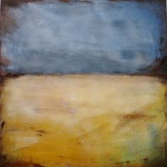 Field painting/ minimal landscape painting/ by CrookedCoopFarm