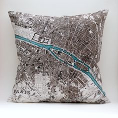 Vintage PARIS Map Pillow Made to Order 18 x18 Cover by saltlabs, $49.00
