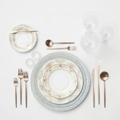 RENT: Lace Chargers in Dusty Blue + Le Melange Vintage China + Moon Flatware in Brushed Rose Gold + Czech Crystal Stemware + Antique Crystal Salt Cellars SHOP: Moon Flatware in Brushed Rose Gold