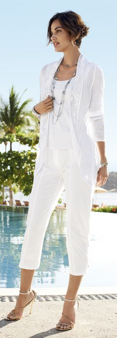 Chico's Subtle Sequin Genevieve Cardigan. White on white: it simply isn't summer without it.