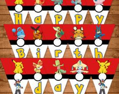 Pokemon Cupcake Toppers Red & White  Pokemon by NineLivesNotEnough