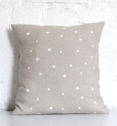 hand printed linen cushion cover - white dots. $30 from hello milky