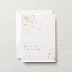 Hand Engraved Embassy Wedding Invitation with Flowers