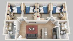 Exquisite Unique 4 Bedroom Apartments Floor Plans Madbury Commons - Home & DIY Sims House Plans, House Layout Plans, Small House Plans, House Layouts, House Floor Plans, Dorm Layout, Dorm Room Layouts, Home Design Floor Plans, Home Building Design
