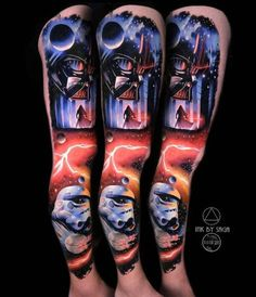 What better way to celebrate May than with most amazing collection of Star Wars tattoos. Each tattoo is the perfect fan tribue for Star Wars day! Stormtrooper Tattoo, Darth Vader Tattoo, Batman Tattoo, Darth Maul, Badass Tattoos, Life Tattoos, Cool Tattoos, Nerd Tattoos, War Tattoo