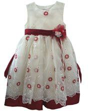 Creme and Burgundy Embroidered Organza Flower Girl Dress 4T – Carousel Wear