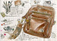 Liz POst... her sketch bag in her #journal.... Urban Sketchers