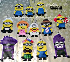 Minion Perler Bead Christmas Ornaments Set of 12 perler beads by MadamFandom