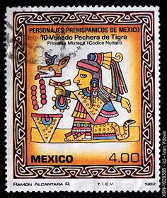 Princess of Mixteca, Pre hispanic personalities of Mexico, postage stamp, Mexico, 1980