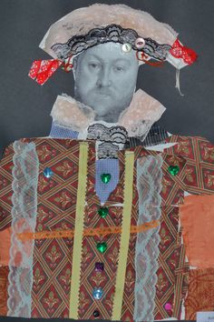 Drawing & collage with Tudor portraits, so much fun to play with the materials...
