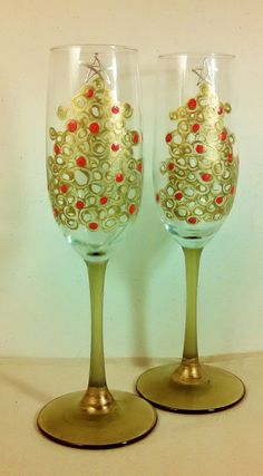 2 Hand Painted Holiday Champagne Flutes, Adorable Green & Gold, Christmas Wedding, Stemware Painted Wine Glasses Personalized Home Decor