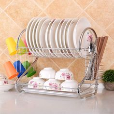 Multifunctional S-shaped Dual Layers Bowls & Dishes & Chopsticks & Spoons Collection Shelf Dish Drainer Silver Utensil Storage, Kitchen Storage Containers, Storage Organization, Storage Rack, Medium Kitchen, Spoon Collection, Dish Drainers, Stainless Steel Cutlery, Dish Racks