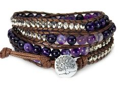 Tree of Life Bracelet Purple Agate Beaded Wrap *** You can find more details by visiting the image link.