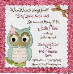 invitation owl showerowl baby