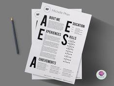 A Chic, Minimalist Résumé Template That Features Bold, Over-Sized Typography - DesignTAXI.com