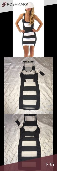Hurley grey black white striped summer dress White, grey and black striped dress from Hurley. Fitted. Horizontal stripes on front and back with contrasting stripes at the side for contouring fit. Slight high low hem. Some marking noted next to tag. Barely there but wanted to disclose. Notice during picture taking. Size XS, New with tags! Hurley Dresses Mini