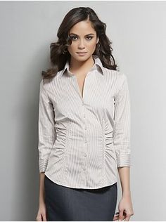 Striped Button-Down Shirt with Shirring from New York & Company