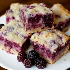 Blackberry Pie Bars...mmmm. Recipe calls for almond extract. I can only imagine the yumminess of these luscious bars.