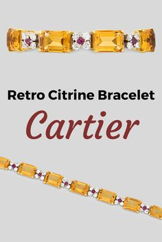 This retro citrine bracelet from the celebrated house of Cartier boasts a modern elegance. Eight emerald-cut citrines totaling 60.00 carats comprise the stylish design. The monumental stones are complemented by European-cut diamond and Burma ruby florets. Set in 18k gold, the eye-catching piece embodies Cartier's reputation for innovative artistry ~ M.S. Rau Antiques