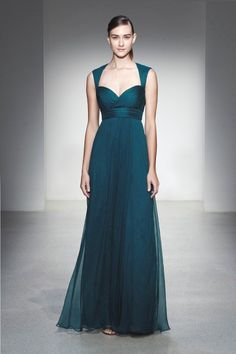The Amsale Bridesmaid Fall 2013 collection, which features long, flowing gowns in rich jewel tones and sophisticated flower prints. The collection has a lot of fun yet sophisticated looks and many of these dresses would be perfect for many of those pre-wedding celebrations for the bride.