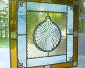 Stained Glass panel Christmas Candle Ornament suncatcher window