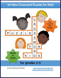 Use this Crossword Puzzles for Kids eBook to add some fun and pizzazz to your kids in-school or after-school routine! Twenty brand-new puzzles cover a range of topics including Double-Letter Animals, Art Smarts, What's First?, Things With Wheels, and many more. Clues are usually written at two levels making differentiation a breeze in the classroom. Ideal for remote or in-person learning. Written by Ann Richmond Fisher. Spelling Games, Spelling Activities, Class Activities, Fifth Grade Spelling Words, Brain Games For Adults, Vocabulary Exercises, New Puzzle, School Routines, Crossword Puzzles