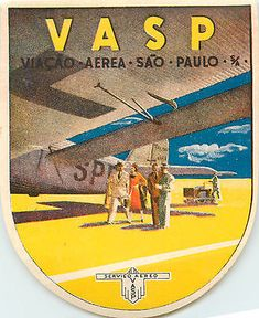 VASP Airline ~SAO PAULO / BRAZIL~ Great Old ART DECO Luggage Label, 1945