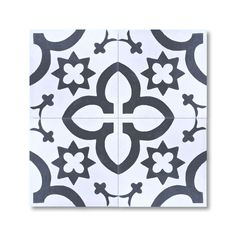 Megouna Black and White Handmade Moroccan 8 x 8 inch Cement and Granite Floor or Wall Tile (Case of 12) (Megouna Black & White)