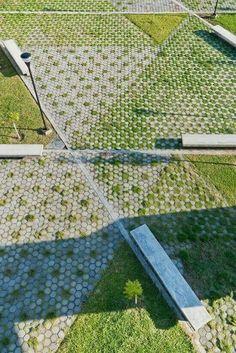 Creative grass pave design.