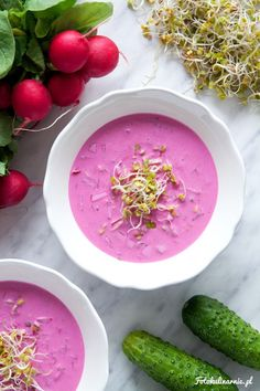 Quick Cold Borscht - cold beet juice and yogurt soup with cucumber, radish and sprouts.