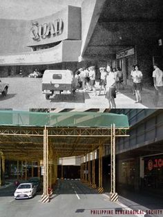 Dito, Noon: Quad in 1975 x Glorietta 1 in 2019 #kasaysayan — The old Quad main entrance became a minor access point when the Glorietta mall complex underwent redevelopment beginning 1991. Fajardo, Main Entrance, In 2019, Present Day, Manila, Quad, Philippines, Pop Culture, Old Things