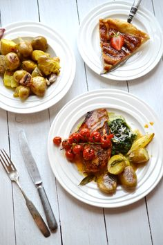 Tray-baked chicken, squashed potatoes and creamed spinach, banana tarte tatin
