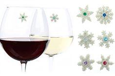 Swarovski Crystal Snowflake Wine Charms Set of 6 Magnetic Drink Markers
