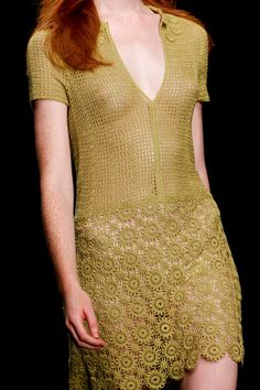 Crochet dress. Looks like a yarn that's finer than #10 thread.  London: Jasper Conran Spring 2013