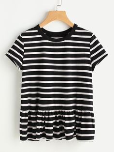 Striped Ruffle Hem T