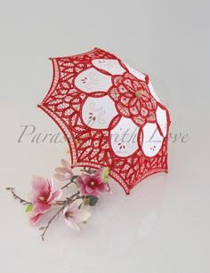 Red & White Vintage Lace